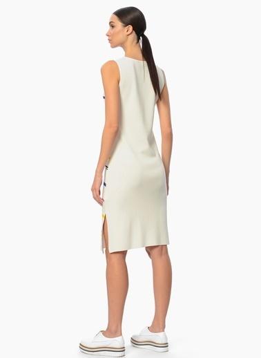 Network Askılı Çizgili Elbise Beyaz